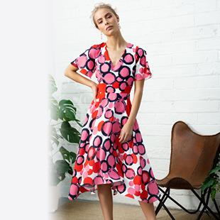 fc33c0ae3 Fee G Circle Print Swing Dress Pink