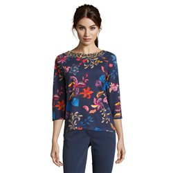 Betty Barclay Floral Top With Animal Print Neckline Dark Blue