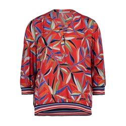 Betty Barclay Vibrant Leaf Print Blouse Red