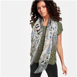 Taifun Scarf With Printed Flowers And Stripes Cream
