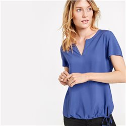 Taifun Blouse Top With Drawstring Detail  Blue