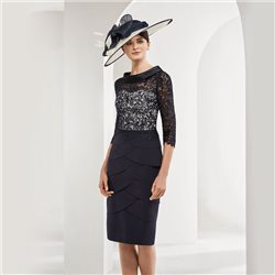 Rosa Clara Dress With Lace Overlay Navy