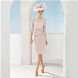 Rosa Clara Peplum Dress With Lace Top Pink