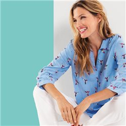 Olsen Bird Print Blouse Blue