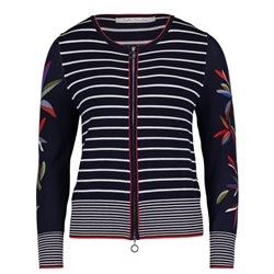 Betty Barclay Striped Zipped Cardigan Dark Blue