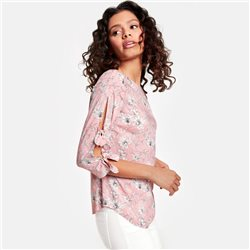 Taifun Bow Detailed Floral Blouse Pink
