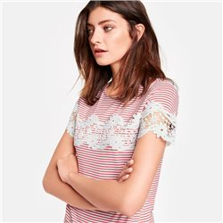 Taifun Lace Detailed Striped Top Red