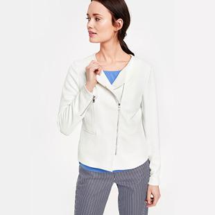 Blazer With Zip Detail White