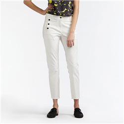 Sandwich High Waist Skinny Crop Trouser White