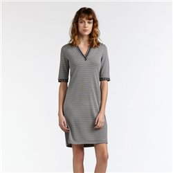 Sandwich Striped Dress With Contrasting Inset Grey