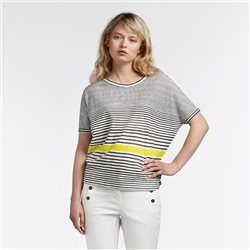 Sandwich Balloon T Shirt With Stripe White