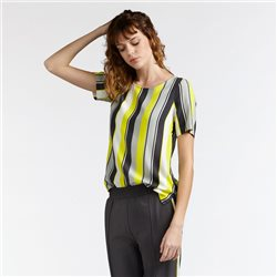 Sandwich Striped Top With Keyhole Detail Yellow