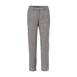 Olsen Striped Linen 3/4 Length Trousers Black