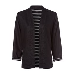 Olsen Linen Jacket With Striped Lining Black