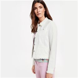 Gerry Weber Fringed Hem Denim Jacket White