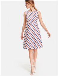 Taifun Striped Sleeveless Dress Cream