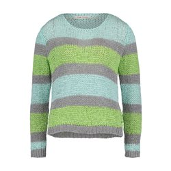 Betty Barclay Striped Crochet Knit Jumper Green