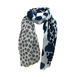 One Button Jewellery Polka Dot Print Scarf Blue
