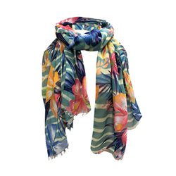 One Button Jewellery Tropical Print Scarf Blue