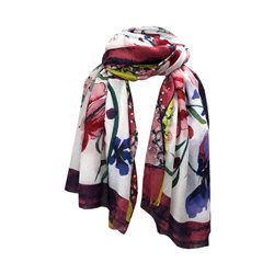 One Button Jewellery Floral Patterned Scarf Pink
