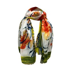 One Button Jewellery Floral Patterned Scarf Orange
