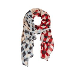 Sandwich Check Print Scarf Red