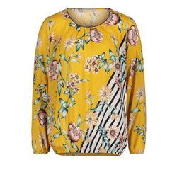 Betty & Co Floral Blouse With Stripe Detail Yellow