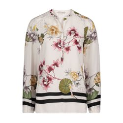 Betty & Co 3/4 Sleeve Blouse With Floral Design White