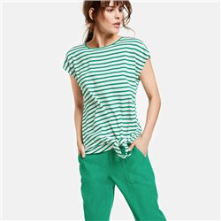 Taifun Striped Top With Knot Detail Green