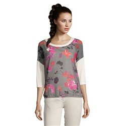 Betty Barclay Floral Print 3/4 Sleeve Top Black
