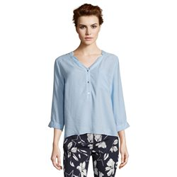 Betty & Co Casual V Neck Blouse Blue