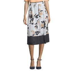 Betty & Co Flower And Spot Print Skirt Off White