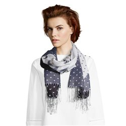 Betty & Co Flower And Spot Print Scarf Off White