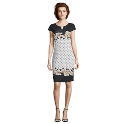 Betty & Co Flower And Spot Print Dress Black