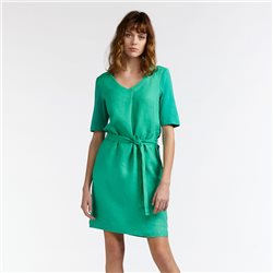 Sandwich Linen Dress With Tie Belt Green
