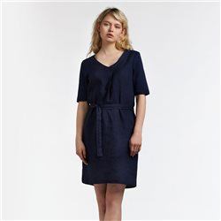 Sandwich Linen Dress With Tie Belt Navy