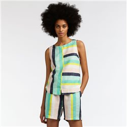 Sandwich Striped Sleeveless Top With Slit Detail Green
