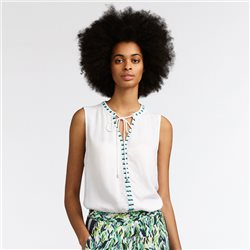 Sandwich Tie Detailed Sleeveless Top White