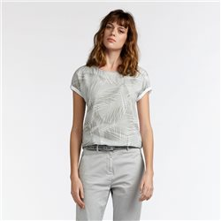 Sandwich Palm Print Top Grey