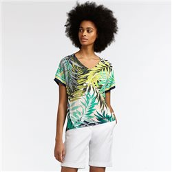 Sandwich Colourful Palm Print Top Green
