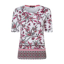 Olsen 1/2 Sleeve Leaf Print Top Raspberry