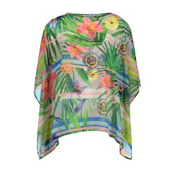 Betty Barclay Tropical Print Poncho Red