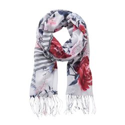 Betty & Co Floral Stripe Scarf White