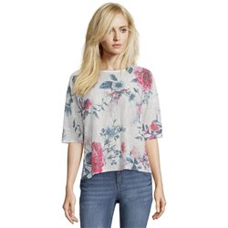 Betty & Co Floral Print Knit Top Off White