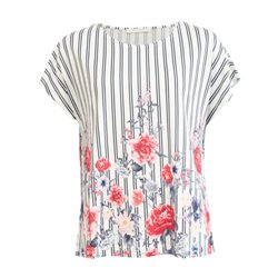 Betty & Co Floral And Stripe Print Top Off White