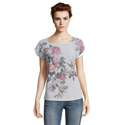 Betty & Co Floral And Stipe Design Top Pink