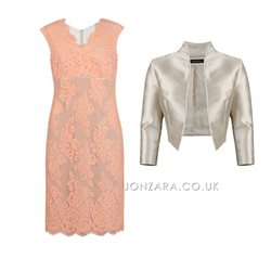 Linea Raffaelli Lace Dress And Bolero Peach