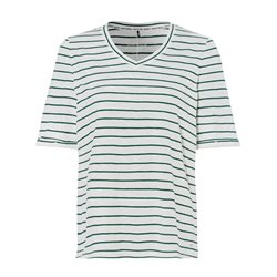 Olsen Striped Cotton T Shirt Off White