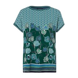 Olsen Abstract Floral Print Top Green