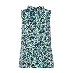 Olsen Sleeveless Printed Blouse Green